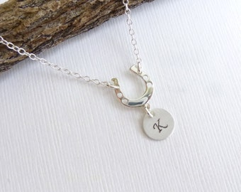 Lucky Horseshoe Initial Necklace  -- Entirely Sterling Silver -- Good Luck Charm Horse Shoe Pendant