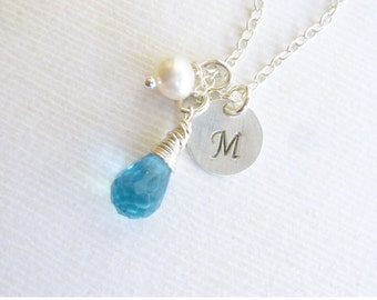 Sterling Silver Birthstone Initial Pearl Charm Trio Necklace -- Blue Topaz Shown -- Personalized Bridesmaids