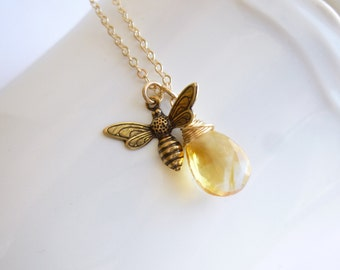 Antiqued Gold Honey Bee and Birthstone on 14k Gold Filled Chain -- Citrine Shown -- Choose Your Stone