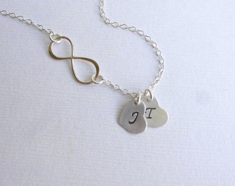 Infinity Necklace with Two Initial Hearts -- Personalized 925 Sterling Silver -- Friendship Necklace -- Mothers Necklace