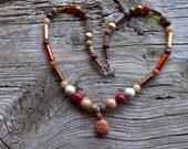 Carnelian turtle,coral,agates,glass, zebrastone,jasper,beaded necklace 22 inches