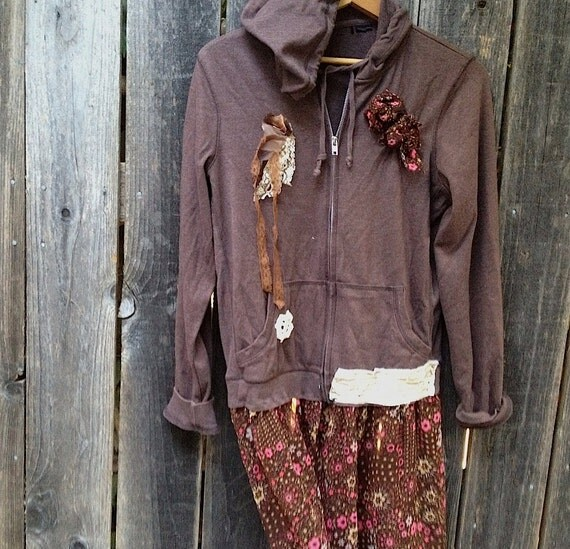 going to the barn autumn brown mocha dark cocoa coffee  gypsy prairie shabby rustic girl upcycled embellished flower lace hoody