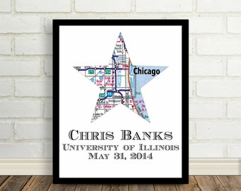 Graduation Gift Art Print Personalized City Map Graduation Day Present City Map Art Graduate Gift College Graduate High School Graduate