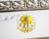 Vintage Flower Brooch - Yellow Flower and Rhinestone Pin - Bridesmaid Gift