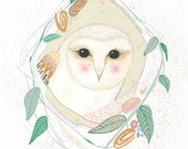 A4 Giclee Print, Peeping Barn Owl, Bird Art, Nursery Art, Home Decor, Wedding Gift, Owl Art, Gouache, Archival Print of Gouache Painting