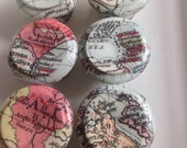 """Dresser knobs pull Set of 6 decorated wooden drawer knobs; old world map 1.6"""""""