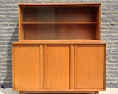 Mid Century Modern Credenza and Upper Shelving with Glass Doors by Conant Ball.