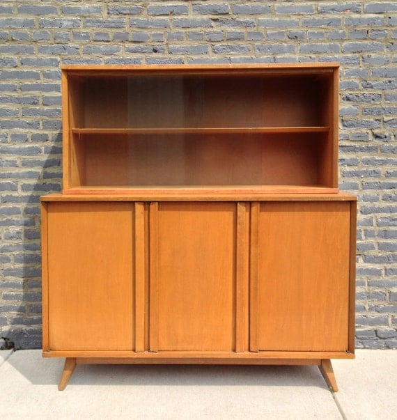 Mid Century Modern Credenza And Upper Shelving With Glass