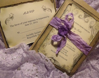 Lavender / purple Rustic Wedding Invitation Suite/ Vintage inspired