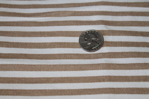 Vintage Fabric/Brown and Ivory Stripe Fabric/1980's Fabric/100% Cotton Fabric/Pre Washed/Fabric REMNANT 30 Inches x 27 Inches