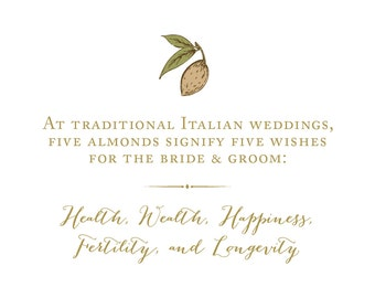 Wedding Reception Signage - Traditional Italian Wedding 5 Almonds Sign