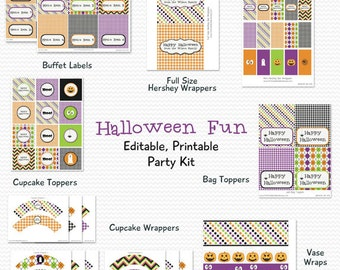 Printable Halloween Party Package, Party Supplies, Decoration, School Party Kit -- Editable and Instant Download