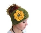 warm knit headband, Flower Headband, knitting, gift,  winter trend ,fashion,  Christmas,Olive drab