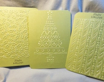 Olive green Christmas cards, 4.5 x 6.25, Embossed Holly, Tree, Sandable, Matching Seals, Set of 12
