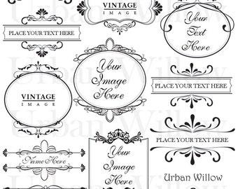 ORNAMENTAL VINTAGE FRAMES 2 - Digital vintage style designs with transparent backgrounds.