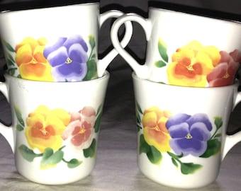 Corning Ware Pansies - Summer Blush Mug Set (Lot of 4)