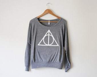 Deathly Hallows Women's Pullover - Inspired by Harry Potter - Made in USA by So Effing Cute