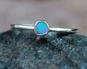 Sterling Silver Pale BLUE OPAL RING-gemstone stacking ring-thin gemstone rings -opal stacking rings - thin stacking gemstone rings-stackable