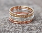 STACKING RINGS - THIN Rings - Stacked Rings- Stackable-Rose Gold, Gold, Sterling Silver Hammered Stacking Rings-thin stacking rings