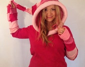 reserved Hot pink an pale pink upcycled elf hoodie sweater Upcycled