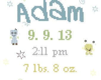 Monsters Cross Stitch Pattern/Baby Monsters Cross Stitch/Cross Stitch Baby Monsters/Baby Birth Record Cross Stitch/Modern Cross Stitch/PDF