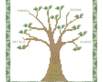 Cross Stitch Pattern - Custom & Personalized Family Tree