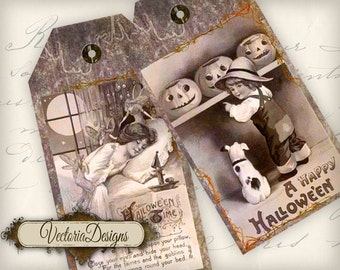 Vintage Halloween Tags instant download printable gift tags digital Collage Sheet VD0504