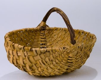 Vintage Large Handmade Split Willow Triple Handle Woven Fall Harvest Gathering Basket