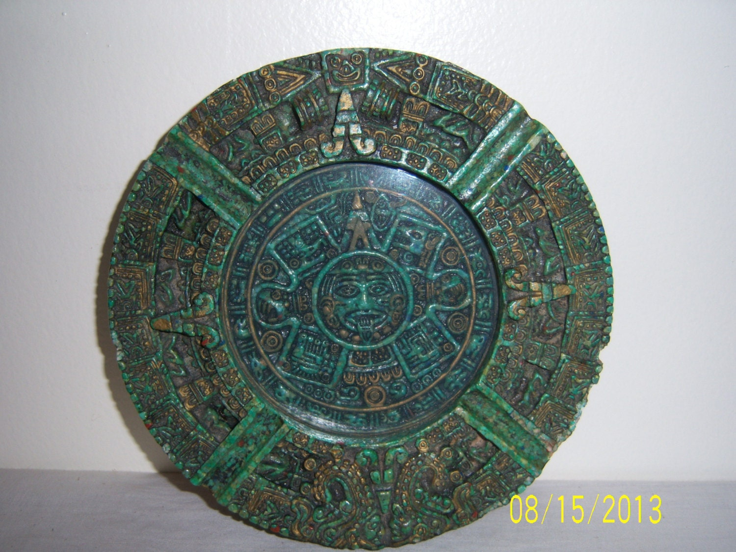 Mexican Aztec Mayan Calendar Ashtray Malachite Ashtray