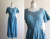 1980s Denim Jean New with Tags Mint Beaded Cotton Dress