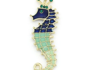 1 Gold Plated Enamel Rhinestone Deluxe SEAHORSE Charm Pendant chg0157
