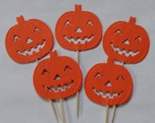 12 Large Jack o'Lantern Pumpkin Cupcake Toppers - Food Picks - Party Picks