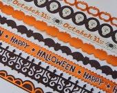 Halloween Border Stickers - Adhesive Borders - Scrapbooking Embellishments - Skulls - Pumpkins - Glitter - Foil