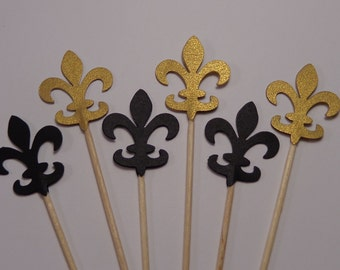 24 Gold and Black Fleur De Lis Cupcake Toppers - Food Picks - Party Picks