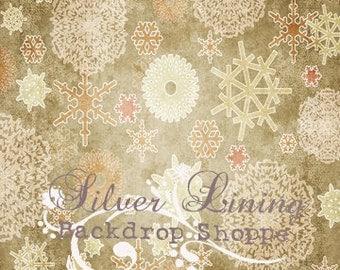Backdrop 6ft x 6ft Christmas Vintage Snowflakes / Vinyl Photography Backdrop