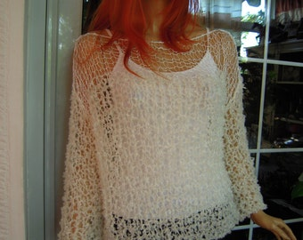sweater handmade knitted grunge loose sweater/tranparent top  in ivory ready to ship all size gift for her by golden yarn