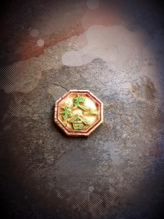 Hong Gambling Token Siamese Gaming Token Antique Porcelain Coin