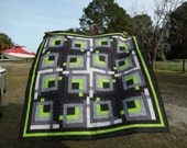 Take a Walk on the Wild Side with this Lime and Gray Quilt!