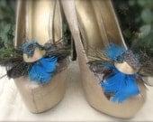 Wedding Shoe clips peacock retro inspiration