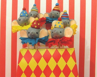 Bright Circus Elephant Cupcake Toppers
