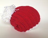 Knitted toddler hat, slouchy beanie, Christmas hat, red hat, photo prop - TinyLoveGifts