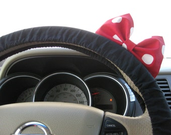 Steering Wheel Cover Bow, Minnie Mouse Inspired Black Cotton Steering Wheel Cover with Minnie Bow BF11206