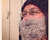 Fuzzy Beard In GREY Hand Crochet, Beard and Mustache Only - Use With Any Beanie