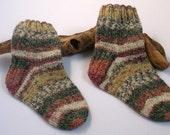 Hand knitted self patterning boys socks. 4 - 6 years. UK 9  EU 27  US 9