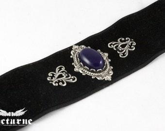 Black Velvet Choker - Purple Stone Goth Choker - Victorian Gothic Jewelry