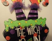 """Whimsical Wooden """"Witches Cauldron"""" door hanger or yard sign"""