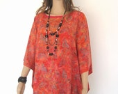 Pomegranate Orange Bali Batik Top Tunic Kaftan Caftan Poncho Dress Blouse Loungewear Cover Up Bridesmaids Bridal Pregnant Plus Size 3X 4X 5X
