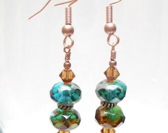 SALE Genuine Copper Blue Green Amber Czech Glass Dangle Earrings