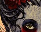 A3 Crimson Lady Tattoo Art Print Cathy FitzGerald