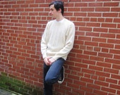 mans wool sweater, classic, cables, Jantzen, made in USA, boyfriend sweater